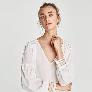 New Zara White Sleeve Beaded White Blouse